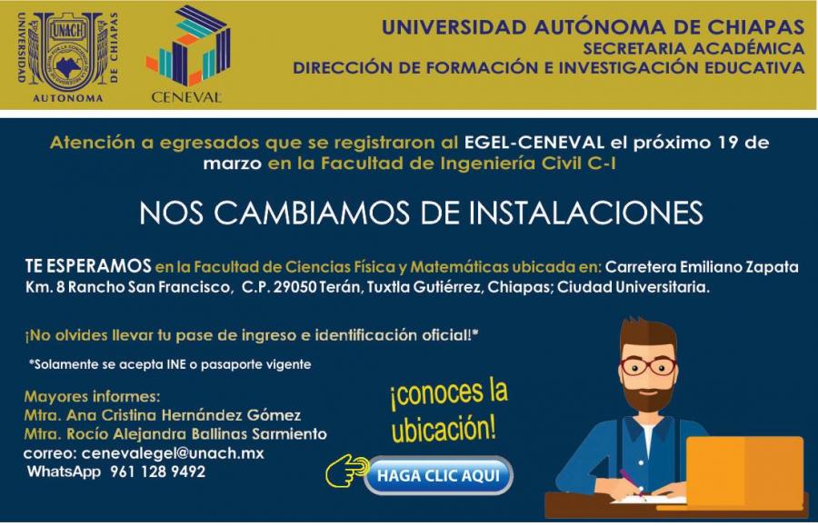 Cambio de instalaciones del Examen EGEL-CENEVAL del 19 de Marzo 2021